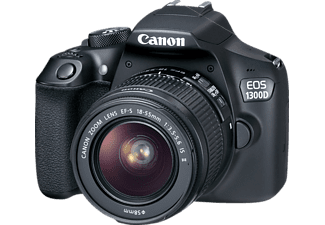 CANON EOS 1300 D + 18-55MM IS II Spiegelreflexkamera, 18 Megapixel, Full HD, CMOS Sensor, Near Field Communication, WLAN, 18-55 mm Objektiv (IS II), Autofokus, Schwarz