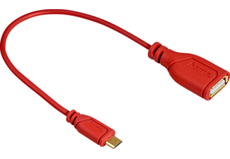 "HAMA ""Flexi-Slim"" Micro USB OTG Adapter Cable, twist-proof, red, 0.15 m - (135707)"