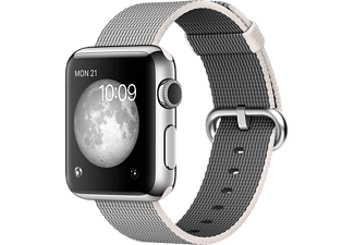 APPLE WATCH 38MM S STEEL CASE PEARL WOVEN NYLON
