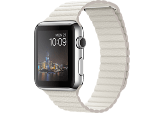APPLE Watch 42mm - Steel med läderarmband i Vitt storlek M