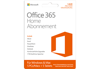 Office 365 Home -  1 Jahr Abonnement für 5 PCs/Macs + 5 Tablets