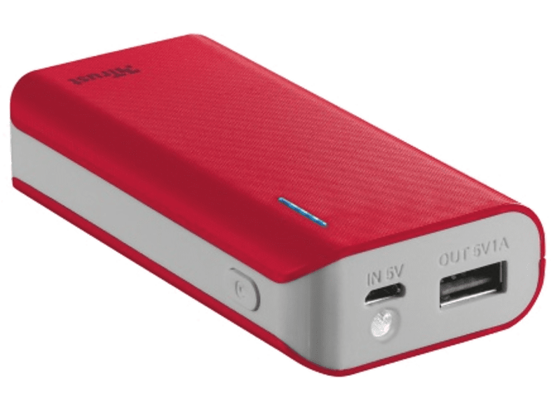 TRUST PRIMO POWERBANK 4400 PORTABLE CHARGER - RED - (21226) τηλεφωνία   πλοήγηση   offline αξεσουάρ κινητής smartphones   smartliving powerb