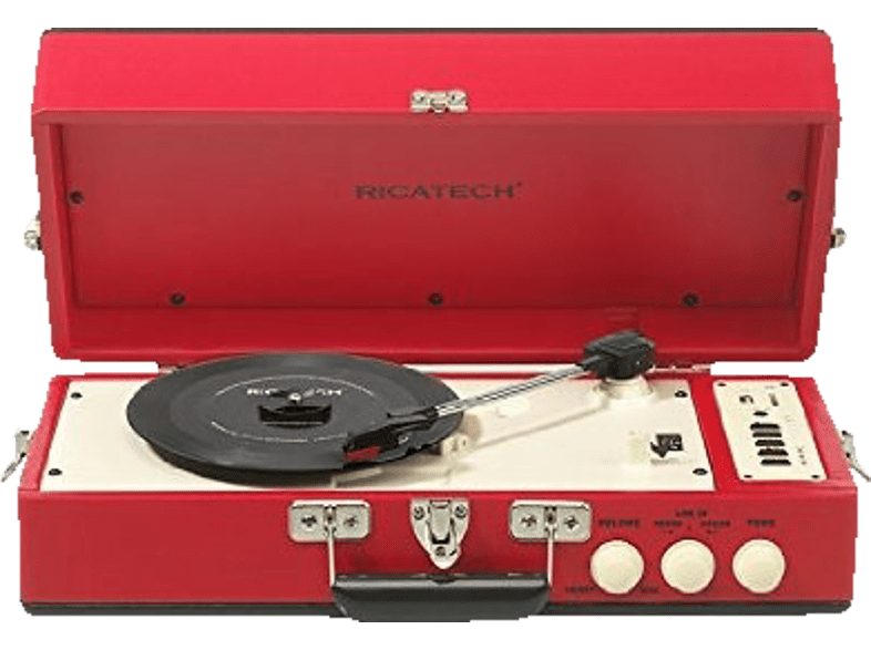 RICATECH Vintage Turnable Red/Black - (RTT98) εικόνα   ήχος   offline hi fi πικάπ τηλεόραση   ψυχαγωγία ήχος πικάπ