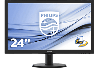 PHILIPS 243V5LHSB 23.6 Zoll Full-HD Monitor (1x VGA (Analog), 1x DVI-D (digitaler HDCP), 1x HDMI (digital, HDCP), 1x Synchronisationseingang: Separate Synchronisation, Synchronisation auf Grün Kanäle, 1 ms Reaktionszeit)