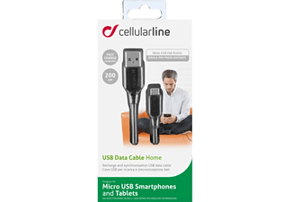 CELLULAR LINE CL Data Cable 2m Black - (USBDATACMICROUSB2M)