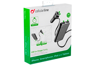 CELLULAR LINE CL Car Charger 7.2A Black - (CBRUSB4FAMILY7AK)