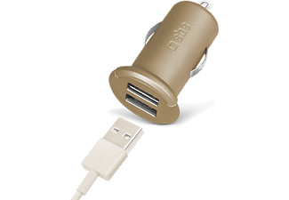 SBS MOBILE Mini-billaddare Gold Collection med 2 USB ports 2.400 mA