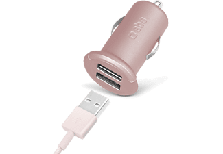 SBS MOBILE Mini-billaddare Pink Collection med 2 USB ports 2.400 mA