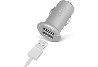 SBS MOBILE Mini-billaddare Silver Collection med 2 USB ports 2.400 mA