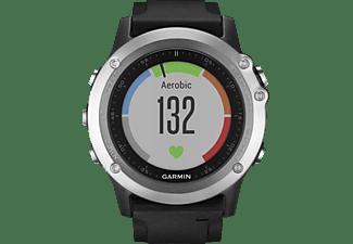 GARMIN  fenix 3 HR, GPS Multisportuhr, Silikon, Schwarz/Silber