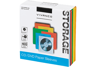 VIVANCO CD/DVD Paper Envelopes 100 st - 6 färger