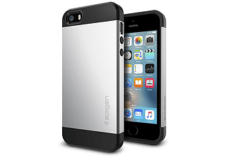 SPIGEN 041CS20249 Backcover Apple iPhone SE/5/5s Thermoplastisches Polyurethan/Polycarbonat Silber