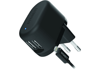 CYGNETT Flow Charger 5V 2.4A Dual USB Wall Charger με καλώδιο Lightning EU plug - (CY1607POFLO)
