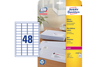 ZWECKFORM L7636-25 Mini-Adress-Etiketten  45.7 x 21.2 mm A4 Mini-Adress-Etiketten (1200 Stk.)
