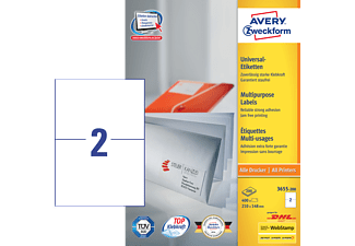AVERY ZWECKFORM 3655-200 UNIVERSAL-ETIKETTEN PERMANENT 210X148MM