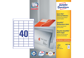 AVERY ZWECKFORM 3657-200 UNIVERSALETIKETTEN PERMANENT 48,5X25,4MM