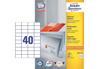 AVERY ZWECKFORM 3651-200 UNIVERSALETIKETTEN PERMANENT 52,5X29,7MM