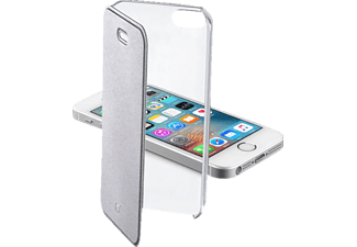 CELLULAR LINE 37501, Bookcover, iPhone 5, iPhone 5s, iPhone SE, Kunststoff, Silber/Transparent