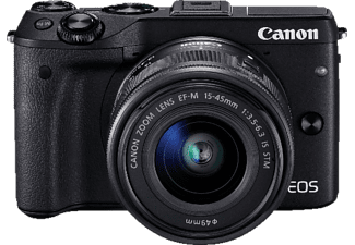 CANON EOS M3 Systemkamera, 24.2 Megapixel, CMOS Sensor, Near Field Communication, WLAN, 15-45 mm Objektiv, Autofokus, Touchscreen, Schwarz