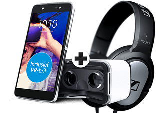 ALCATEL IDOL 4 16 GB Zwart incl. VR-bril en Sennheiser HD 201