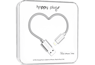 HAPPY PLUGS Ligthing till USB ström/synk-kabel - Silver