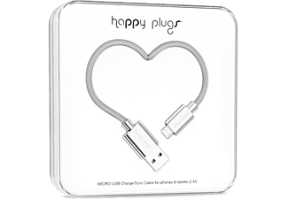 HAPPY PLUGS Micro-USB till USB ström/synk-kabel - Silver