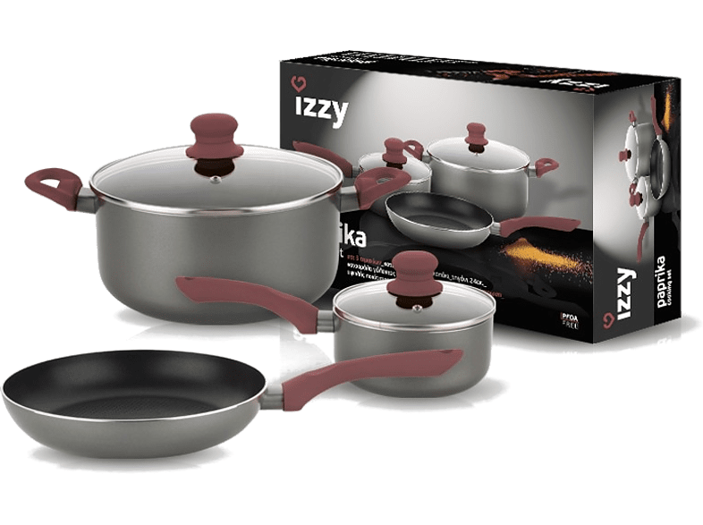 IZZY Σετ Cookware Paprika (5 τεμάχια)  μικροσυσκευές   φροντίδα σκεύη κουζίνας κατσαρόλες sales