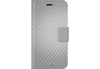 HAMA Flex Carbon, Bookcover, iPhone 7, Mikrofaser/Polyurethan, Silber