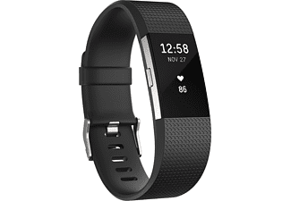 FITBIT Charge 2 Small, Activity Tracker, 14-17 cm, Schwarz/Silber