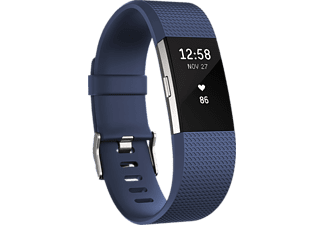 FITBIT Charge 2 Large, Activity Tracker, 165-206 mm, Blau/Silber