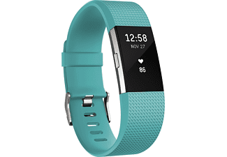 FITBIT  Charge 2 Large, Activity Tracker, 165-206 mm, Türkis/Silber