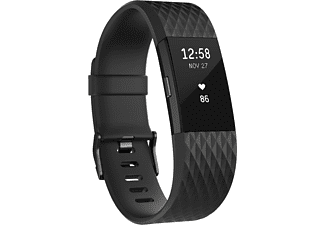 FITBIT Charge 2 Large, Activity Tracker, 165-206 mm, Schwarz/Schwarz