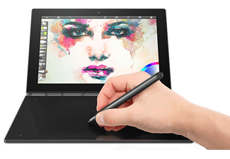 LENOVO Yoga Book mit Windows, 2-in1 Tablet mit 10.1 Zoll, 64 GB Speicher, 4 GB RAM, Atom™ x5 Prozessor, Windows® 10 Pro, Schwarz