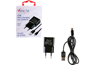 VOLTE-TEL Micro USB (φόρτισης-data VCD05 + Travel VLU15 1500mA) Black - (5205308163890)