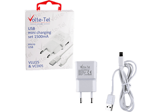 VOLTE-TEL Micro USB (φόρτισης-data VCD05 + Travel VLU15 1500mA) White - (5205308163876)