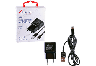 VOLTE-TEL Micro USB (φόρτισης-data VCD05 + Travel VLU25 2500mA) Black - (5205308163913)