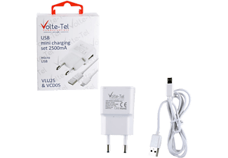 VOLTE-TEL Micro USB (φόρτισης-data VCD05 + Travel VLU15 2500mA) White - (5205308163906)