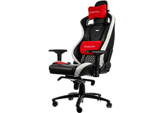 NOBLECHAIRS Epic Series Real Leather Gaming Chair - Svart/Vit/Röd