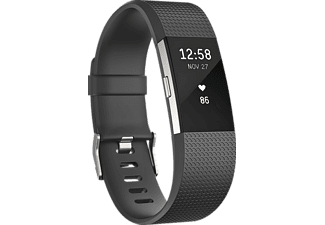 FITBIT Charge 2 ( L), Activity Tracker, 165-206 mm, Schwarz/Silber