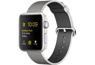 APPLE Watch Series 2, 42mm Aluminiumboett i silver & pärlgrått vävt nylonarmband
