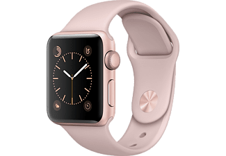 APPLE Watch Series 1, 38mm Aluminiumboett i rosa guld, sandrosa sportband