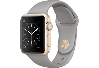 APPLE Watch Series 1, 38mm Aluminiumboett i guld, betonggrått sportband