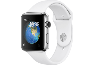 APPLE Watch Series 2, 38mm Boett i rostfritt stål, vitt sportband
