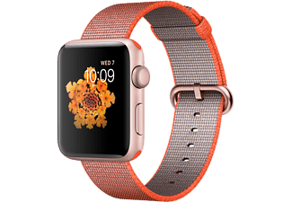 APPLE Watch Series 2 42mm Aluminiumboett i rosa guld & vävt nylonarmband i rymdorange/antracit