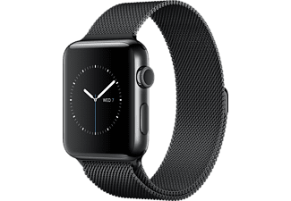 APPLE Watch Series 2, 38mm Boett i rymdsvart rostfritt stål, rymdsvart milanesisk loop