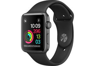 APPLE Watch Series 1, 42mm Aluminiumboett i rymdgrått, svart sportband