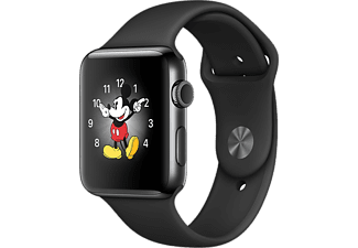 APPLE Watch Series 2, 38mm Boett i rymdsvart rostfritt stål, svart sportband