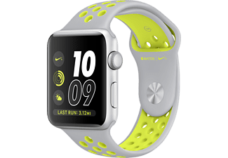 APPLE Watch Series 2, 38mm Aluminiumboett i silver & Nike-sportband i matt silver/volt