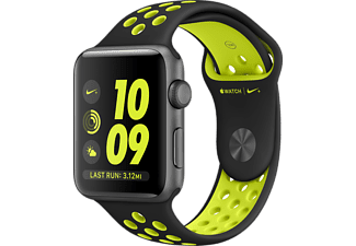 APPLE Watch Series 2, 38mm Aluminiumboett i rymdgrått & Nike-sportband i svart/volt
