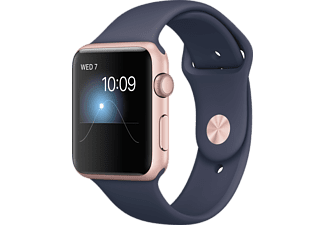 APPLE Watch Series 2, 42 mm Aluminiumboett i rosa guld & midnattsblått sportband